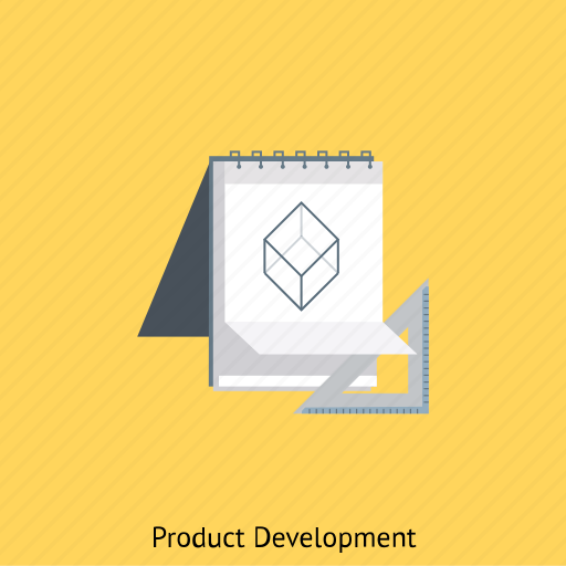 design, development, notebook, product, ruller, sketch icon