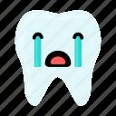 crying, dental, dentist, emoji, hygiene, teeth, tooth icon