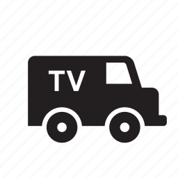 communication, news, production, technology, transport, truck, tv icon