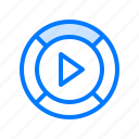 arrows, interface, multimedia, play button, video player icon