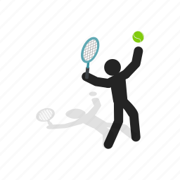ball, body, isometric, player, racket, serve, tennis icon