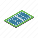court, isometric, net, play, sport, tennis, view icon