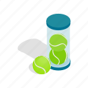 ball, equipment, isometric, sport, tennis, tube, yellow icon