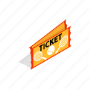 ball, card, element, isometric, sport, tennis, ticket icon