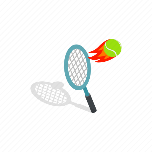 ball, competition, flying, green, isometric, racket, tennis icon
