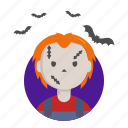 chucky, fear, halloween, killer, puppet icon
