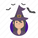 girl, halloween, sorceress, witch icon