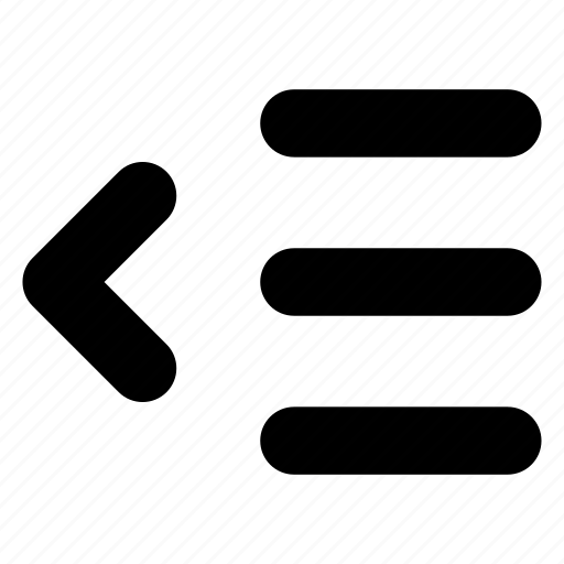align, decrease, indent, left, paragraph icon