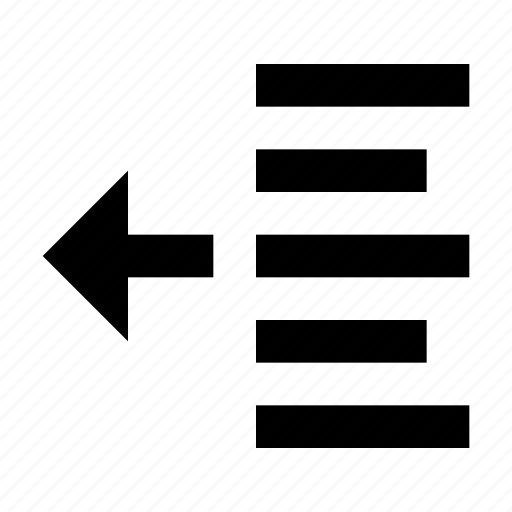 decrease, left, letter, margin, paragraph, text, type icon