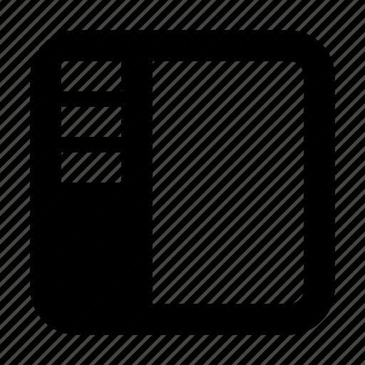 layout, nav, navbar, navigation, panel, sidebar icon