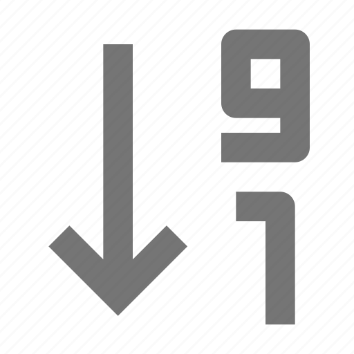 arrow, descending, numbers, numerical order icon