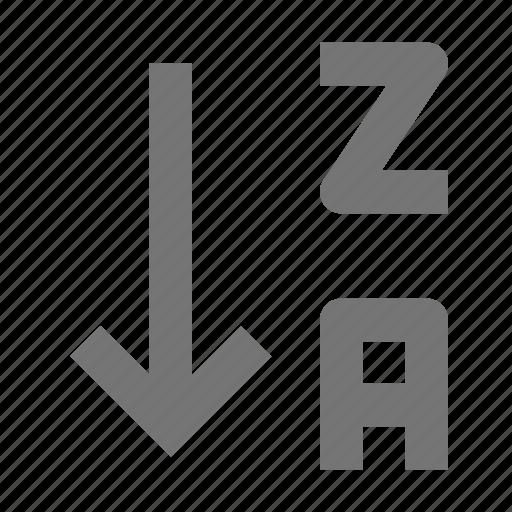 alphabetical order, arrow, descending, down, sort icon