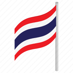 background, country, flag, isometric, national, thai, thailand icon