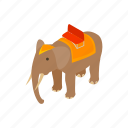 animal, art, background, design, elephant, isometric, trunk icon