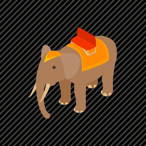 animal, art, background, design, elephant, isometric, trunk icon