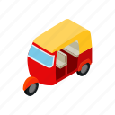 background, isometric, taxi, thailand, travel, tuktuk, vehicle icon