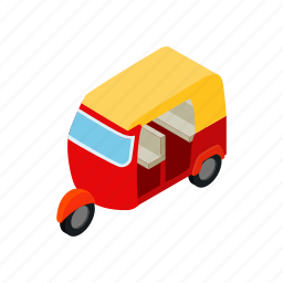 background, isometric, taxi, thailand, travel, tuktuk, vehicle icon