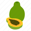 background, dessert, food, fruit, isometric, papaya, vegetarian icon