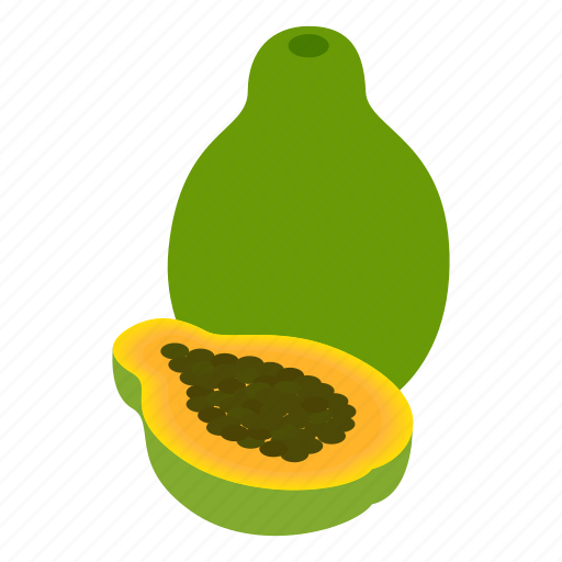 background, dessert, food, fruit, isometric, papaya, vegetarian icon