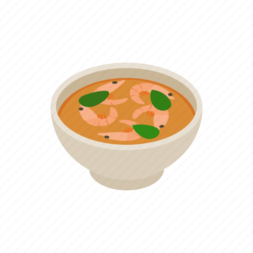 background, cuisine, food, grass, isometric, soup, thai icon