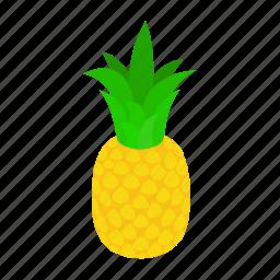 background, food, fresh, fruit, isometric, pineapple, tropical icon