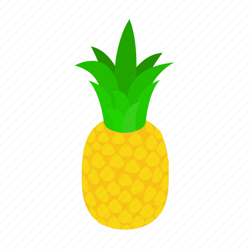 background, food, fresh, fruit, isometric, pineapple, tropical icon
