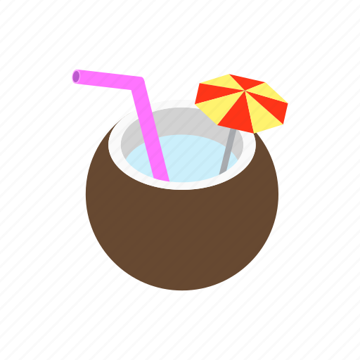background, cocktail, coconut, fresh, healthy, isometric, milk icon