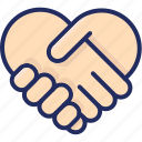 deal, hand shake, heart, love, thank you, valentine icon