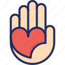 care, giving, hand, heart, love, valentine icon