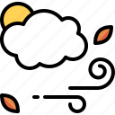 autumn, breeze, cloudy, daytime, forecast, windy icon