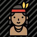 girl, indian, native american, pilgrim, tribe, woman icon