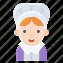 bonnet, pilgrim, prayer, puritan, traditional, woman icon