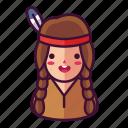 girl, native, woman icon