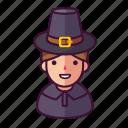 boy, man, pilgrim icon