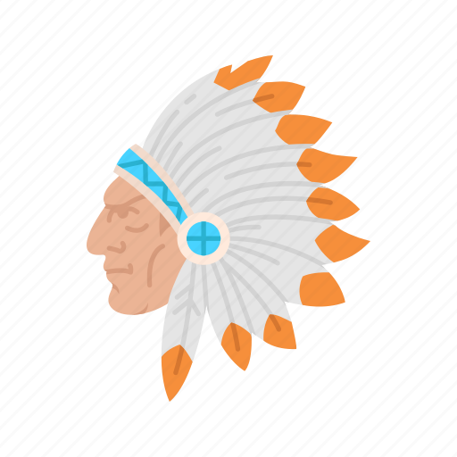 head dress, indian chief, indian man, native american icon