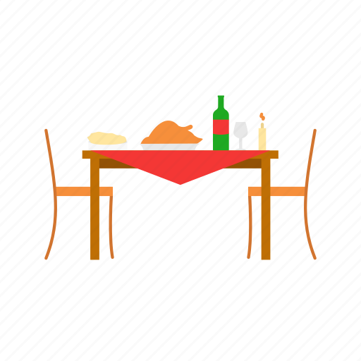 chair, dinner table, table, thanksgiving, thanksgiving dinner icon