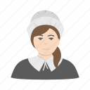 amish, pilgram, pilgrim girl, woman icon