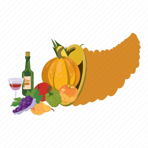 Cartoon, corn, healthy, horn of plenty, pepper, pumpkin, vegetarian icon - Download on Iconfinder