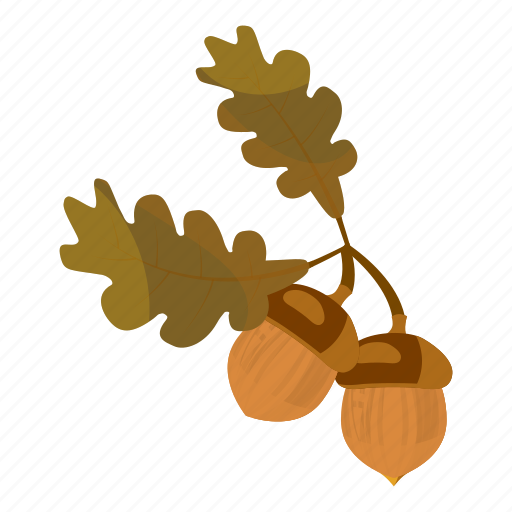acorn, autumn, branch, brown, cartoon, harvest, harvesting icon
