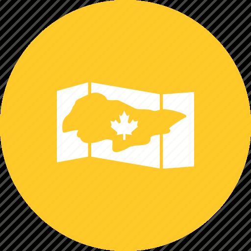 canada, flag, geography, image, leaf, map, north icon