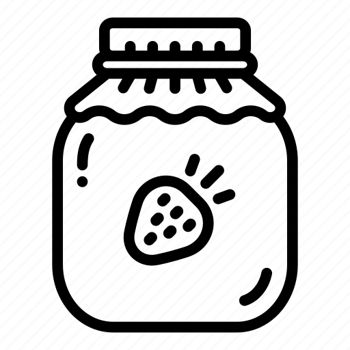 fruit, jam, jar, jelly, preserve, strawberry, sweet icon