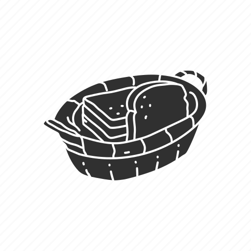 basket, bread, bread basket, toast icon