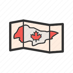 canada, flag, geography, image, leaf, map, north icon