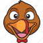 cartoon, emoji, holiday, smiley, thanksgiving, turkey icon