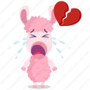 alpaca, broken, emoji, emoticon, heart, smiley, sticker icon