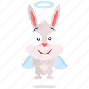 angel, bunny, emoji, emoticon, smiley, sticker icon