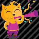 cat, celebration, emoji, emoticon, flute, smiley, sticker icon