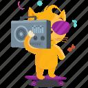 cat, emoji, emoticon, music, skater, smiley, sticker icon