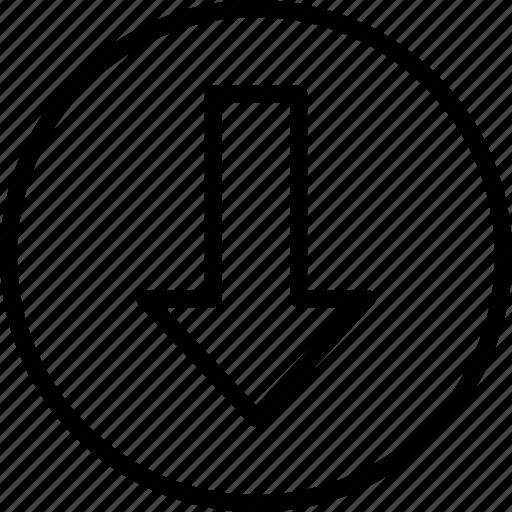 arrow, down, essentials, outline icon