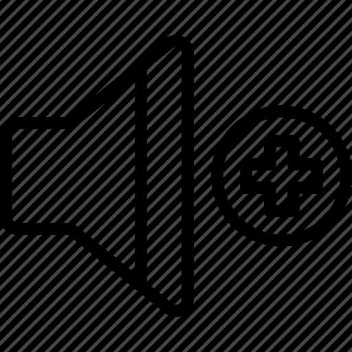 essentials, outline, sound, up, volume icon